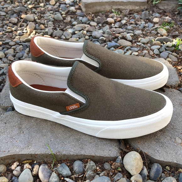 0b07c96441 Vans Slip On 59 Flannel Dusty Olive Shoes